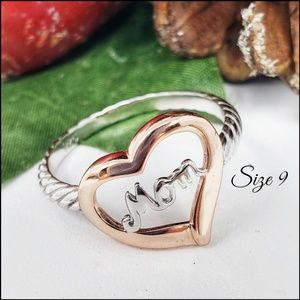 S.Silver Two Tone Rose Gold Plated Mom Heart Ring